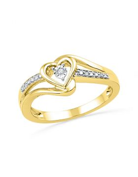 10kt Yellow Gold Womens Round Diamond Heart Love Promise Bridal Ring .03 Cttw