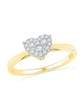 10kt Yellow Gold Womens Round Diamond Simple Heart Cluster Ring 1/6 Cttw