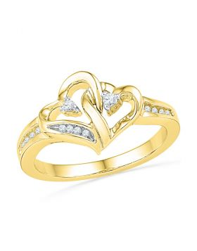 10kt Yellow Gold Womens Round Diamond Double Heart Love Ring 1/10 Cttw