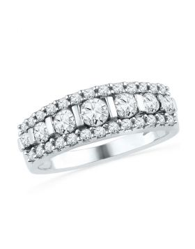 10kt White Gold Womens Round Channel-set Diamond Striped Band Ring 1.00 Cttw