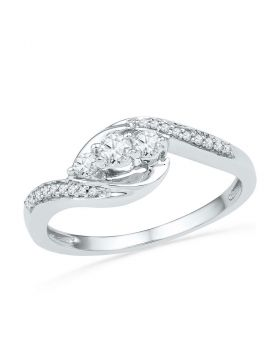 10kt White Gold Womens Round Diamond 3-stone Promise Bridal Ring 1/3 Cttw