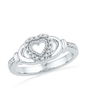 10kt White Gold Womens Round Diamond Milgrain Heart Ring 1/8 Cttw