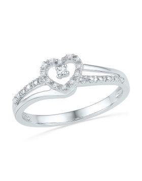 10kt White Gold Womens Round Diamond Heart Love Promise Bridal Ring 1/20 Cttw
