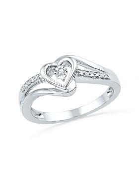 10kt White Gold Womens Round Diamond Heart Love Promise Bridal Ring .03 Cttw