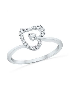 10kt White Gold Womens Round Diamond Heart Outline Solitaire Ring 1/8 Cttw