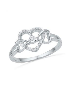 10kt White Gold Womens Round Diamond Triple Heart Solitaire Ring 1/10 Cttw