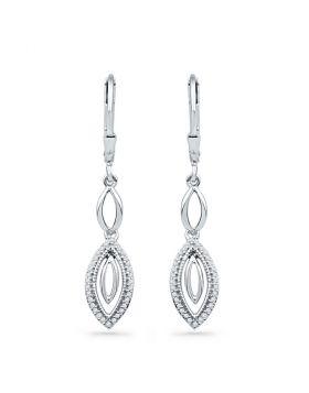 10kt White Gold Womens Round Diamond Oval Dangle Earrings 1/5 Cttw