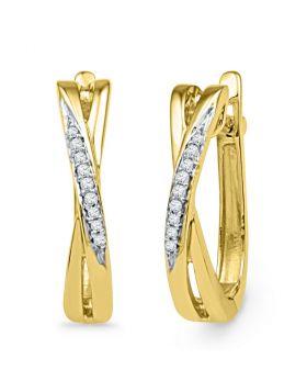 10kt Yellow Gold Womens Round Diamond Slender Crossover Hoop Earrings 1/20 Cttw