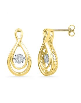 10kt Yellow Gold Womens Round Diamond Moving Twinkle Cluster Teardrop Stud Earrings 1/20 Cttw