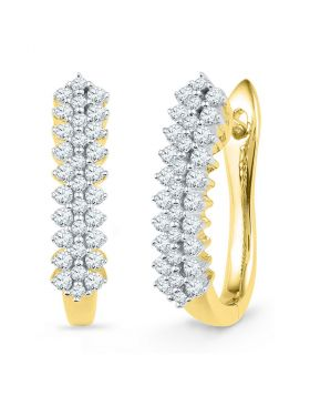 10kt Yellow Gold Womens Round Diamond Oblong Hoop Earrings 1/2 Cttw