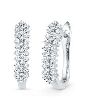 10kt White Gold Womens Round Diamond Oblong Hoop Earrings 1/2 Cttw