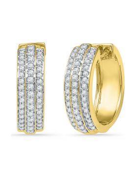 10kt Yellow Gold Womens Round Diamond Triple Row Hoop Earrings 1/2 Cttw