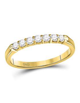 14kt Yellow Gold Womens Round Diamond Single Row Comfort Wedding Band 1/4 Cttw