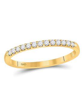 14kt Yellow Gold Womens Round Diamond Single Row Machine-set Wedding Band 1/6 Cttw