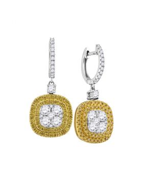 18kt White Gold Womens Round Yellow Diamond Square Cluster Dangle Earrings 2-1/5 Cttw