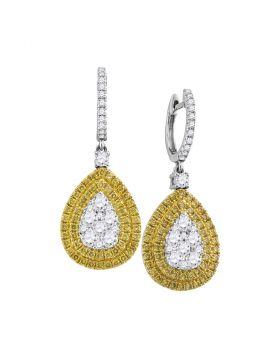 18kt White Gold Womens Round Yellow Diamond Teardrop Cluster Dangle Earrings 2.00 Cttw