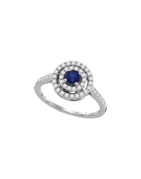 18kt White Gold Womens Round Blue Sapphire Solitaire Concentric Circle Frame Ring 5/8 Cttw