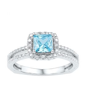 Sterling Silver Womens Princess Lab-Created Blue Topaz Solitaire Ring 1.00 Cttw