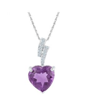 Sterling Silver Womens Heart Lab-Created Amethyst Solitaire Diamond-accent Pendant 4.00 Cttw