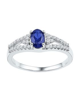 10kt White Gold Womens Oval Lab-Created Blue Sapphire Solitaire Ring 1/5 Cttw