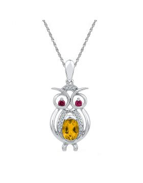 Sterling Silver Womens Oval Lab-Created Citrine Owl Bird Animal Pendant 1.00 Cttw