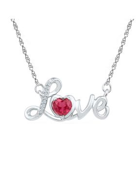 Sterling Silver Womens Round Lab-Created Ruby Love Heart Necklace 1/2 Cttw