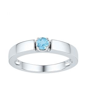 Sterling Silver Womens Round Lab-Created Blue Topaz Solitaire Ring 1/3 Cttw