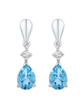 Sterling Silver Womens Pear Lab-Created Blue Topaz Dangle Earrings 1-5/8 Cttw