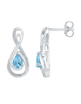Sterling Silver Womens Pear Lab-Created Blue Topaz Fashion Earrings 1.00 Cttw