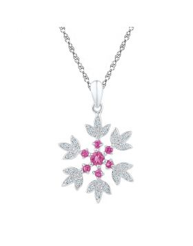 Sterling Silver Womens Round Lab-Created Pink Sapphire Flower Pendant 1/2 Cttw