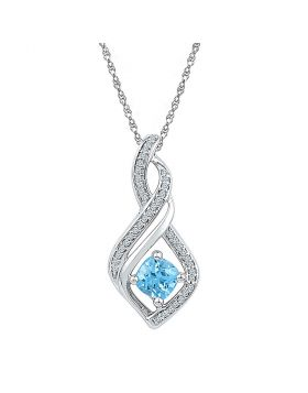 Sterling Silver Womens Round Blue Topaz Diamond-accent Fashion Pendant 1/8 Cttw