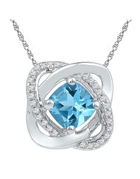 Sterling Silver Womens Princess Lab-Created Blue Topaz Fashion Pendant 3/4 Cttw
