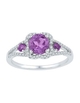 Sterling Silver Womens Round Lab-Created Amethyst 3-stone Ring 1.00 Cttw