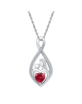 Sterling Silver Womens Round Lab-Created Ruby Mom Mother Child Diamond Pendant 3/4 Cttw