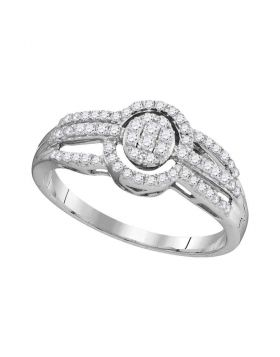 10kt White Gold Womens Round Diamond Framed Oval Cluster Triple Strand Ring 1/3 Cttw