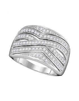 10kt White Gold Womens Round Diamond Striped Fashion Band Ring 1/2 Cttw
