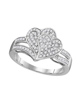 10kt White Gold Womens Round Diamond Double Heart Cluster Ring 1/3 Cttw