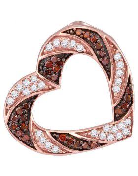 10kt Rose Gold Womens Round Red Color Enhanced Diamond Alternating Stripe Heart Outline Pendant 1/2 Cttw