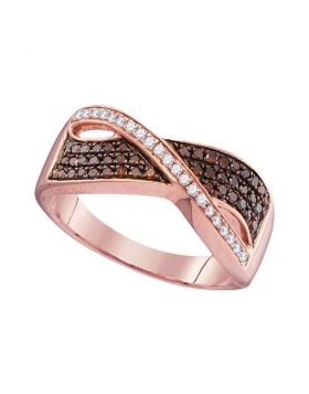 10kt Rose Gold Womens Round Red Color Enhanced Diamond Crossover Band Ring 1/3 Cttw