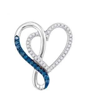 10kt White Gold Womens Round Blue Color Enhanced Diamond Heart Infinity Pendant 1/4 Cttw
