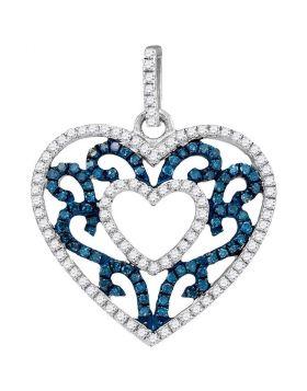 10kt White Gold Womens Round Blue Color Enhanced Diamond Antique-style Heart Pendant 1/2 Cttw