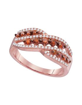 10kt Rose Gold Womens Round Red Color Enhanced Diamond Crossover Fashion Ring 5/8 Cttw