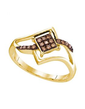 10kt Yellow Gold Womens Round Cognac-brown Color Enhanced Diamond Square Cluster Ring 1/6 Cttw