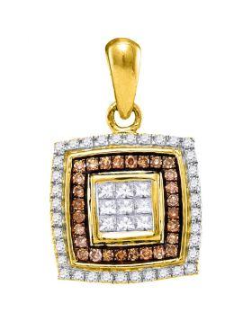 10kt Yellow Gold Womens Round Cognac-brown Color Enhanced Diamond Square Pendant 1/3 Cttw