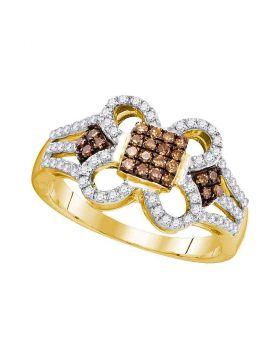 10kt Yellow Gold Womens Round Cognac-brown Color Enhanced Diamond Quatrefoil Square Cluster Ring 1/2 Cttw