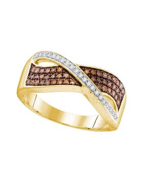 10kt Yellow Gold Womens Round Cognac-brown Color Enhanced Diamond Crossover Band Ring 1/3 Cttw