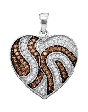 10kt White Gold Womens Round Cognac-brown Color Enhanced Diamond Striped Heart Pendant 1/2 Cttw