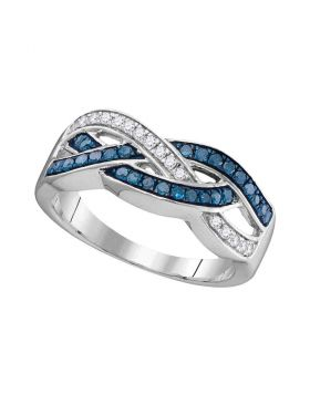 10kt White Gold Womens Round Blue Color Enhanced Diamond Crossover Band Ring 1/3 Cttw