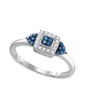 10kt White Gold Womens Round Blue Color Enhanced Diamond Square Cluster Ring 1/5 Cttw