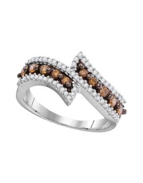 10kt White Gold Womens Round Cognac-brown Color Enhanced Diamond Bypass Band Ring 1/2 Cttw